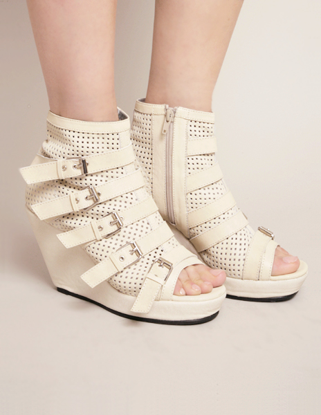 Alain Buckle Wedges - white