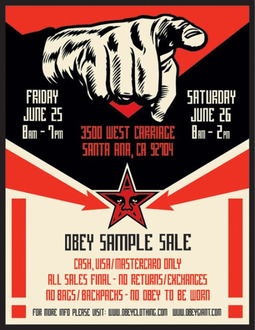 Obey-samplesaleJune2010-samplesaleshop, OBEY, Pop-up shop, sample, sample sale, Sample Sale Shop, samplesale, SampleSaleShop, SampleSaleShop.com, la, west coast, menswear, sheperd fairey, santa ana, los angeles